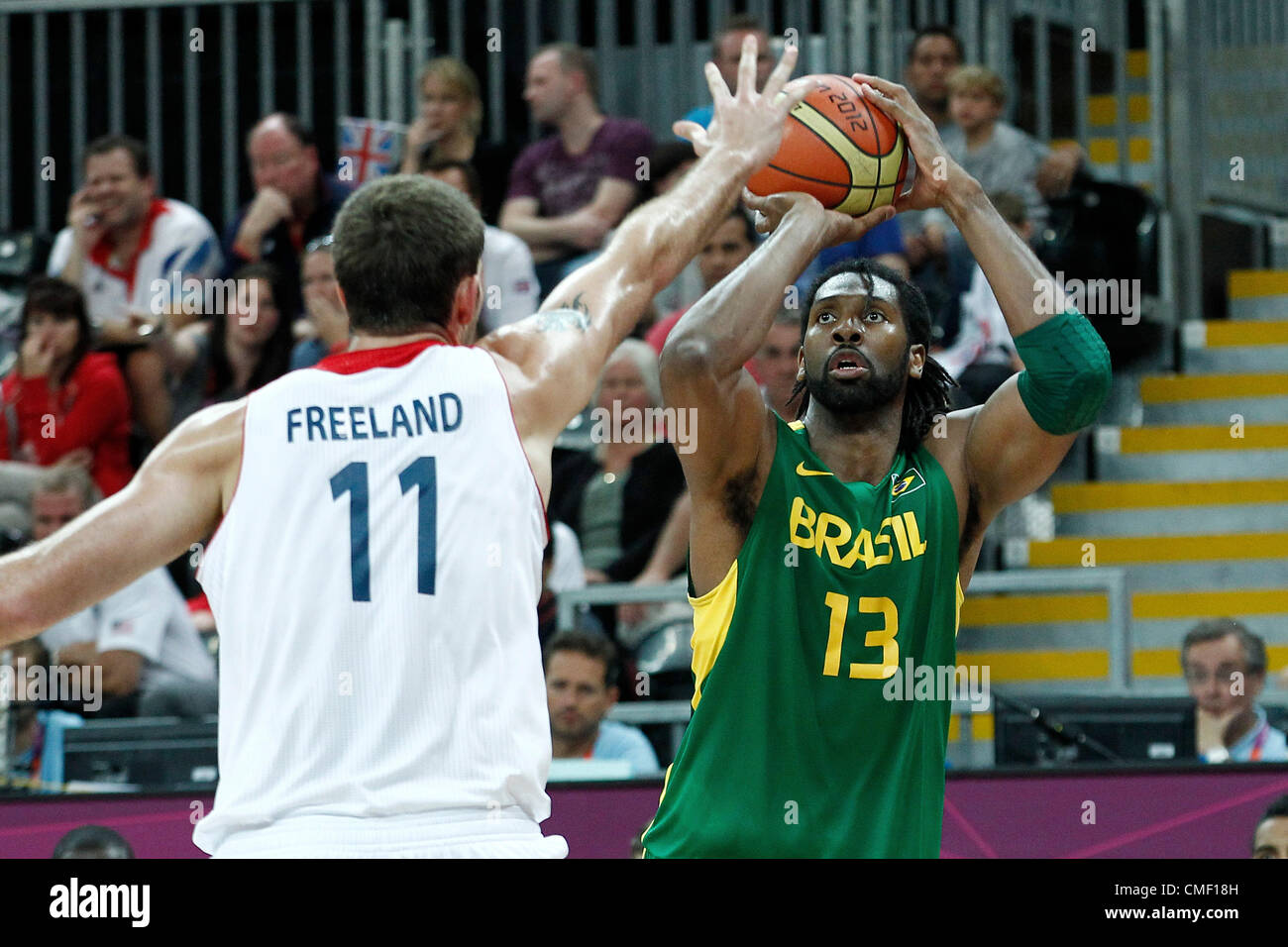 31.07.2012. London, England. 2012 Olympic  Basketball tournament.  Brazil Nene Hilario takes a jumpshot during 67 - Stock Image