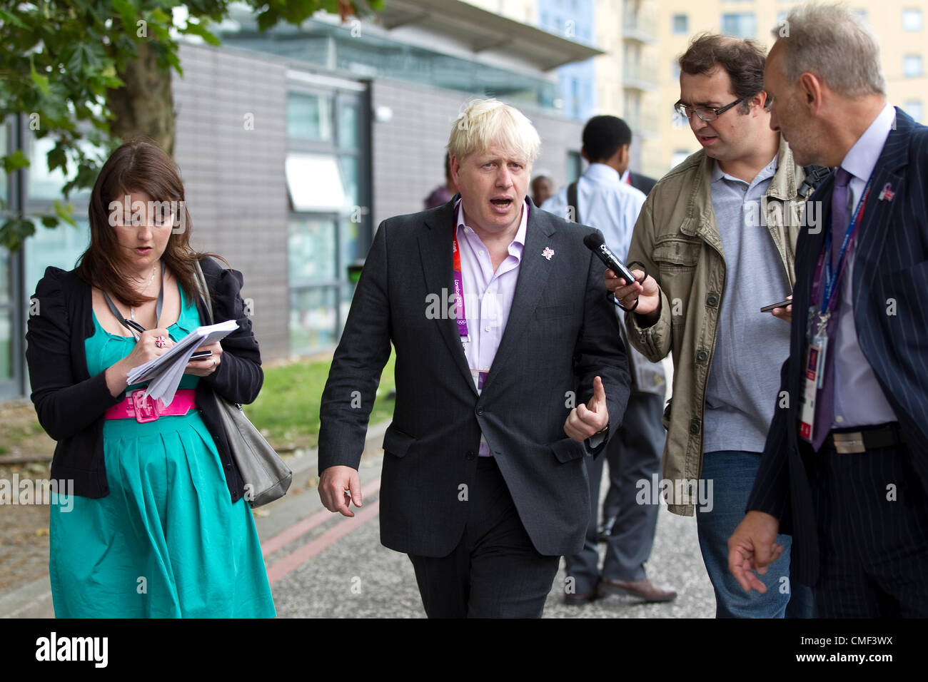 Excel, London, UK. Wednesday 1st August 2012. Boris Johnson, Mayor of London at the Olympic Games 2012 answering Stock Photo