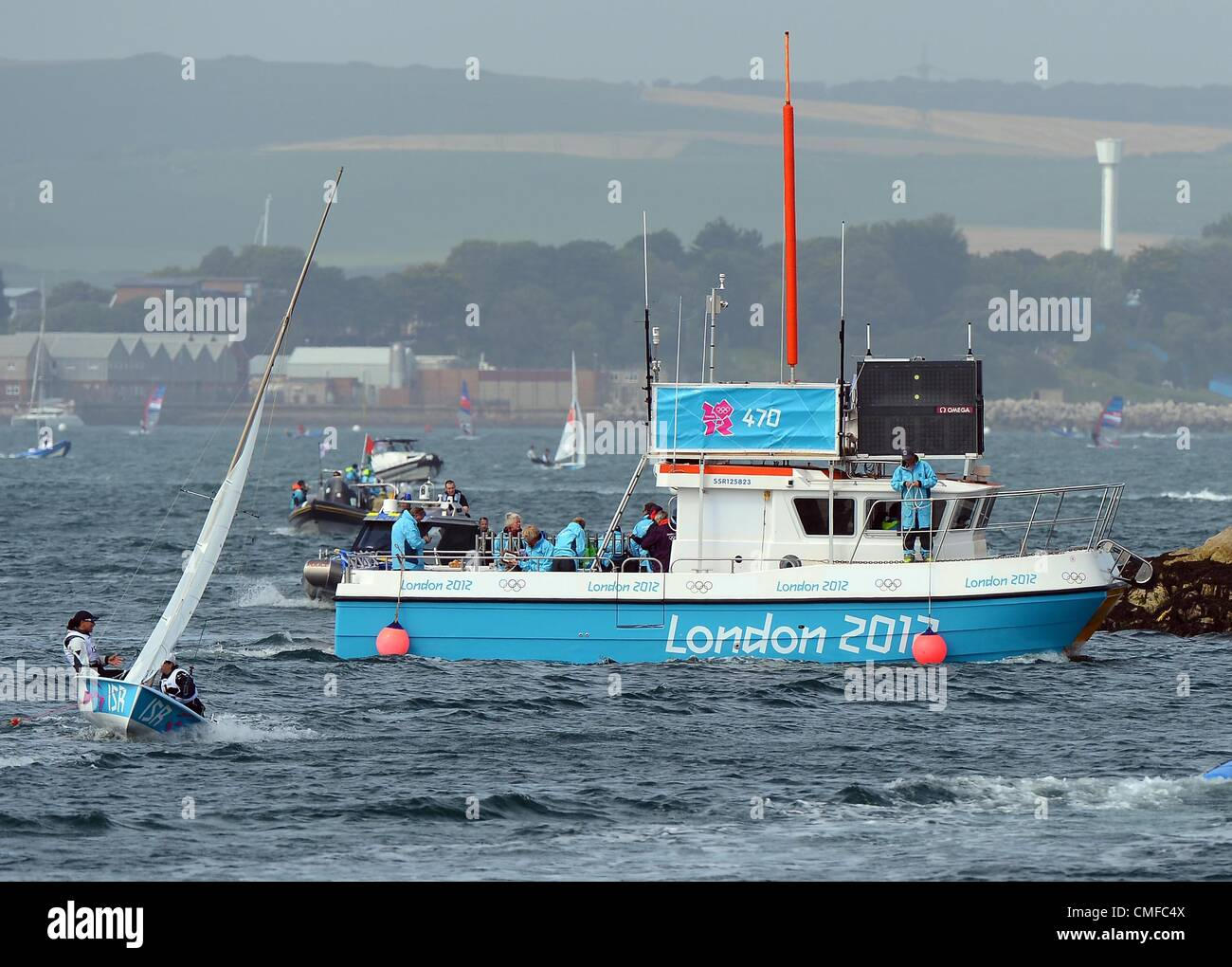London 2012 Olympics: Sailing, action during the London 2012 Olympic Games at the Weymouth & Portland Venue, - Stock Image