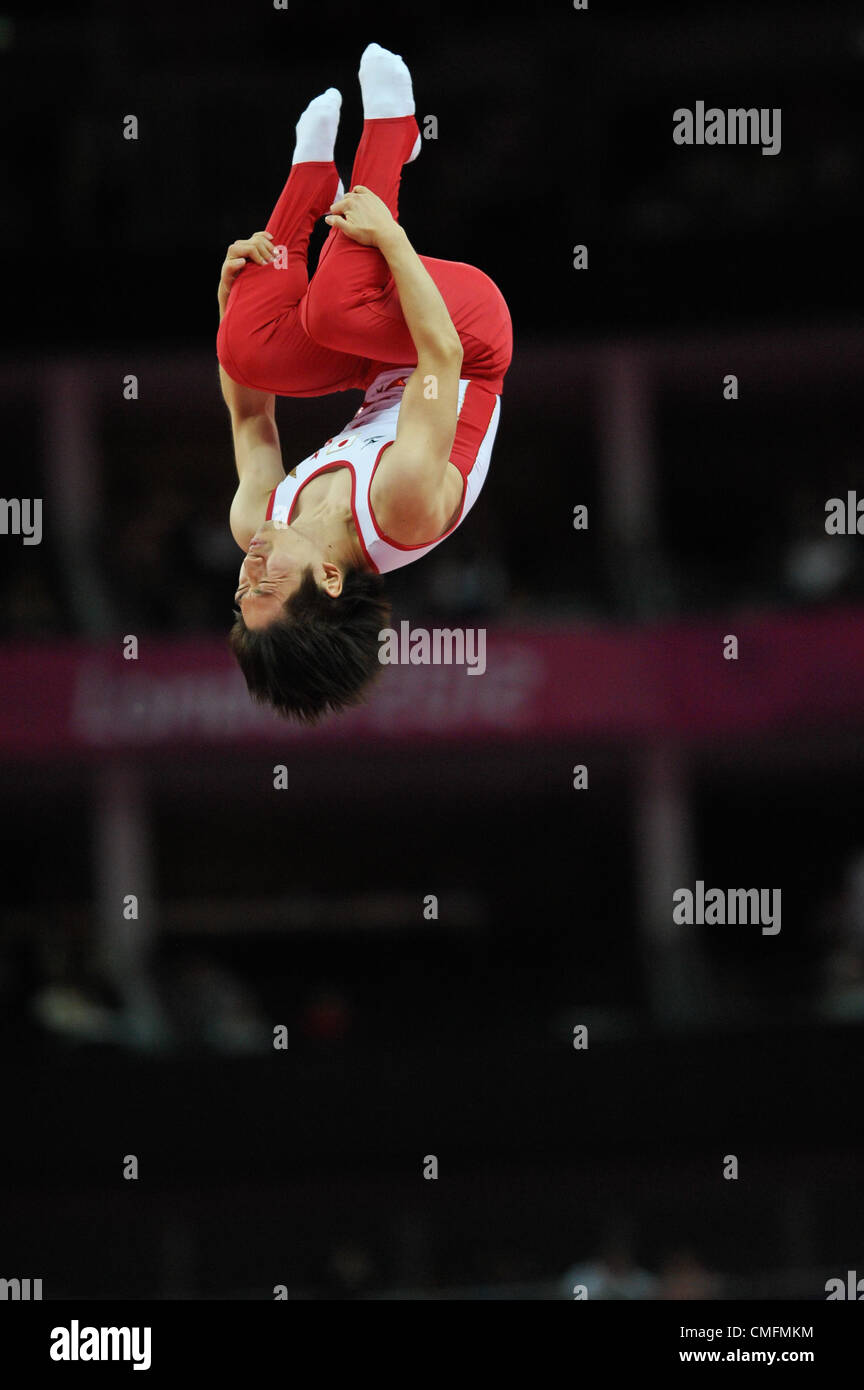 03.08.2012. London, England. Mens Trampoline Finals   North Greenwich Arena . 2012 London Olympic Games. - Stock Image