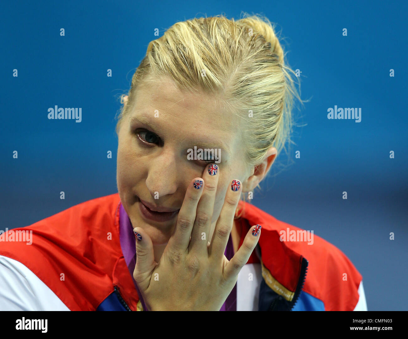 REBECCA ADLINGTON CRIES AT CER GREAT BRITAIN STRATFORD LONDON ENGLAND 03 August 2012 - Stock Image