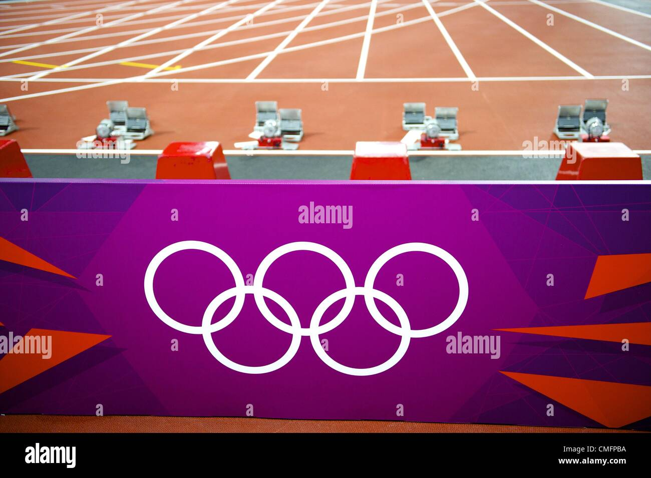 Aug. 3, 2012 - London, England, United Kingdom - Sprint blocks are in place for the 100m final and 110m hurdles - Stock Image