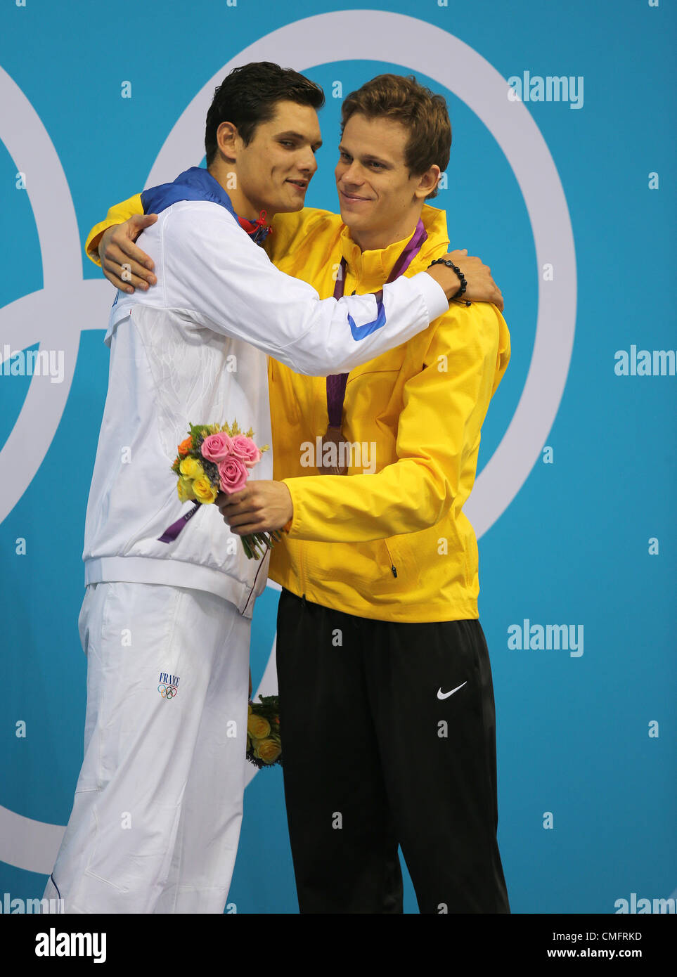 FLORENT MANAUDOU & CESAR CIELO FRANCE & BRAZIL STRATFORD LONDON ENGLAND 03 August 2012 - Stock Image