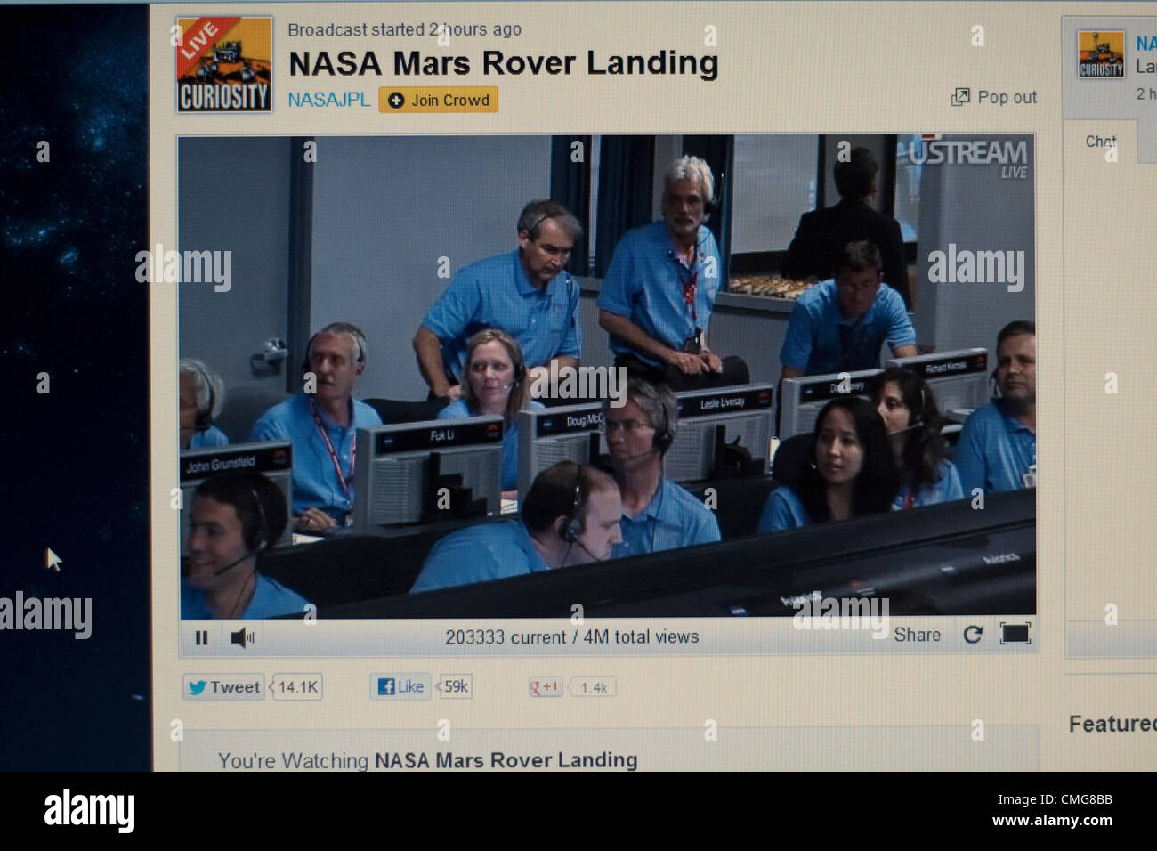 August 6 2012. USA. Live Stream of NASA Mars Rover Landing. A computer screen view of inside the control room of - Stock Image