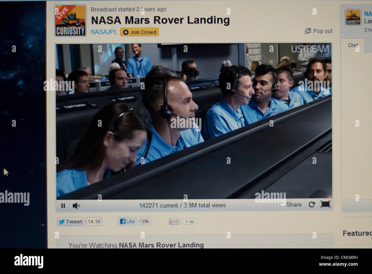 August 6th 2012. USA. Live Stream of NASA Mars Rover Landing. A computer screen view of inside the control room - Stock Image