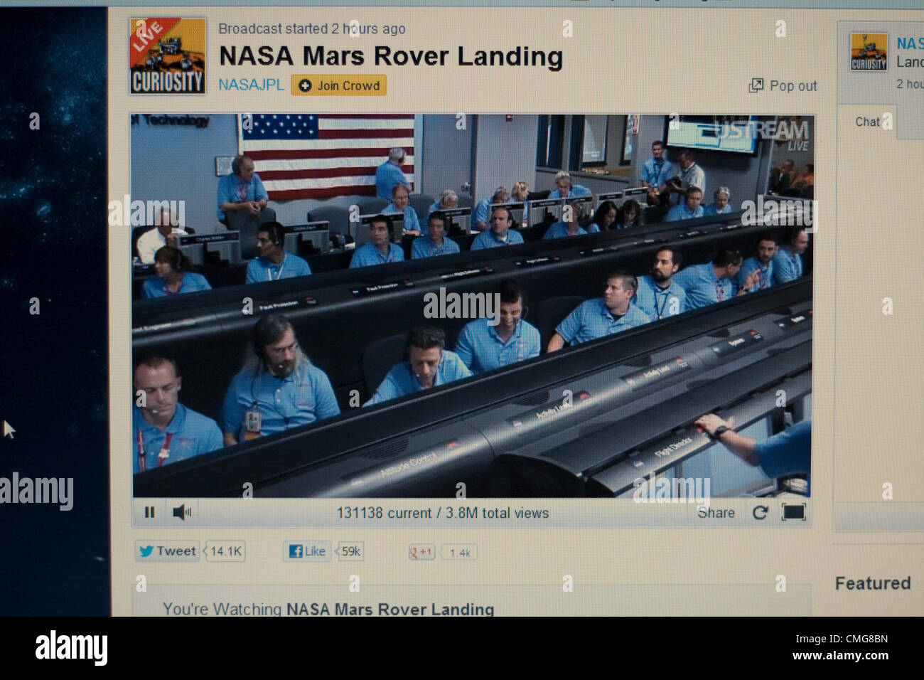 August 6th 2012. USA. A live Stream of NASA's Mars Rover Landing. A computer screen view of inside the control - Stock Image