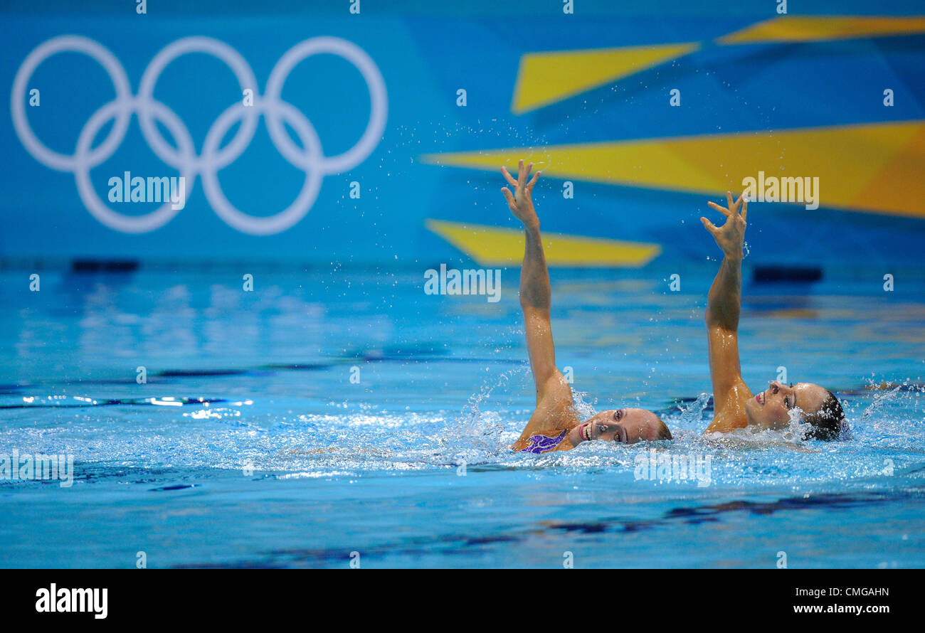 Alzbeta Dufkova (right) and Sona Bernardova of the Czech Republic during the synchronised swimming duets technical - Stock Image