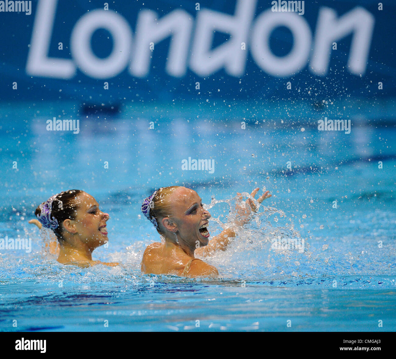 Alzbeta Dufkova (left) and Sona Bernardova of the Czech Republic during the synchronised swimming duets technical - Stock Image