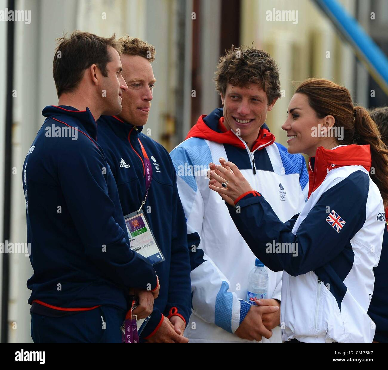 London 2012 Olympics, Kate Middleton visits the Olympic Sailing venue for the London 2012 Olympic Games Meeting - Stock Image
