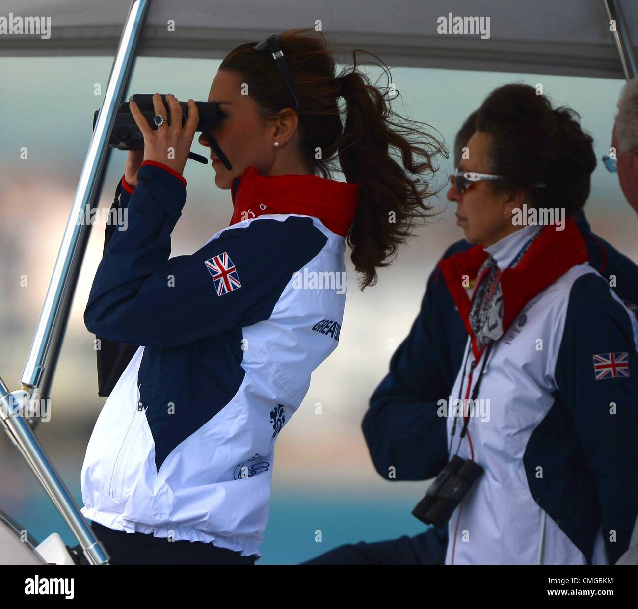 London 2012 Olympics, Kate Middleton visits the Olympic Sailing venue for the London 2012 Olympic Games Watching - Stock Image