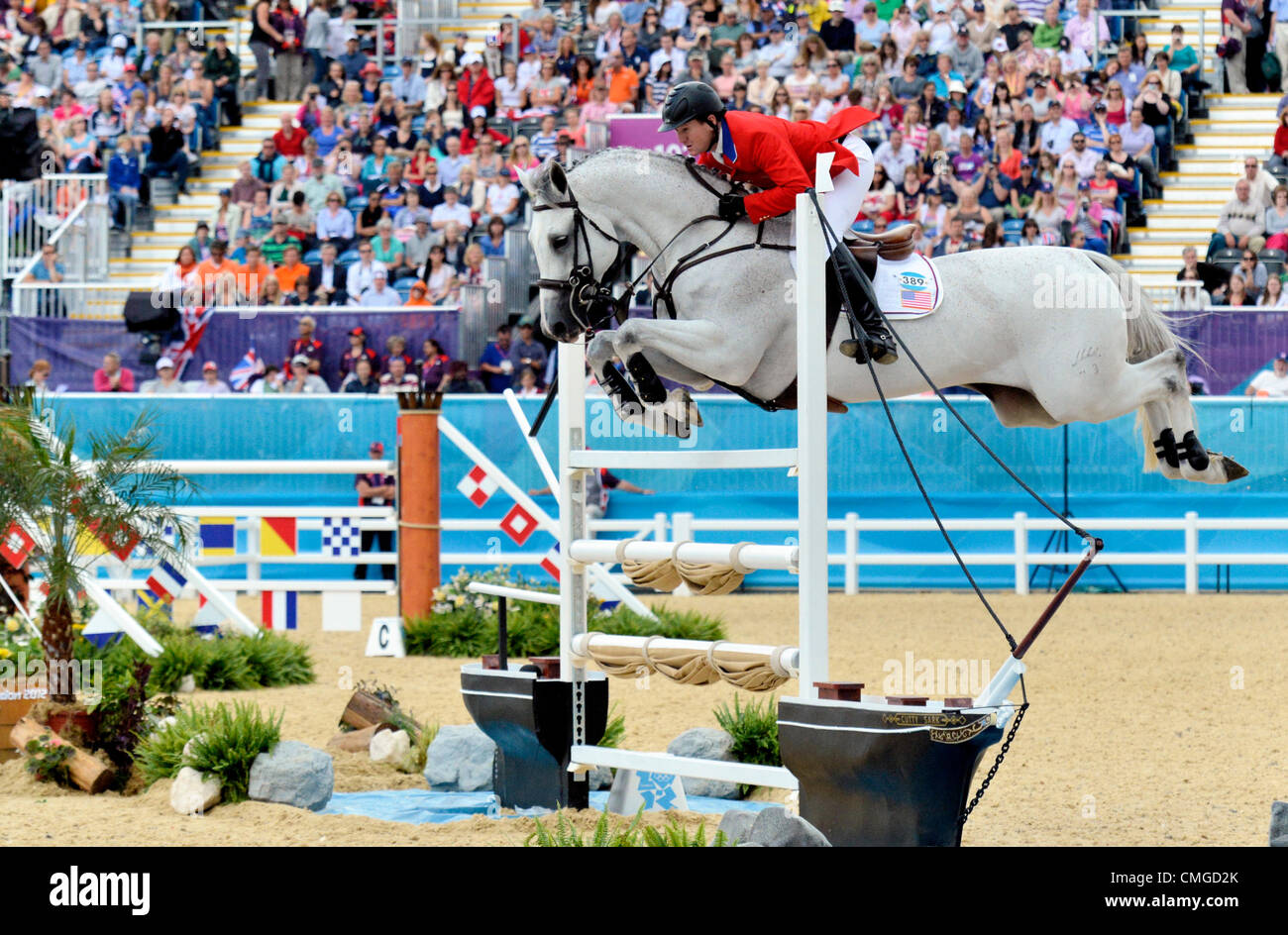 London, UK. 6th August, 2012. Greenwich Park. Olympic Equestrian Team Showjumping McLain Ward USA riding Antares - Stock Image