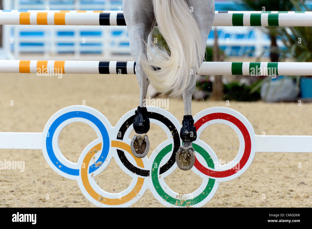 London, UK. 6th August, 2012. Greenwich Park. Olympic Equestrian Team Showjumping - Stock Image