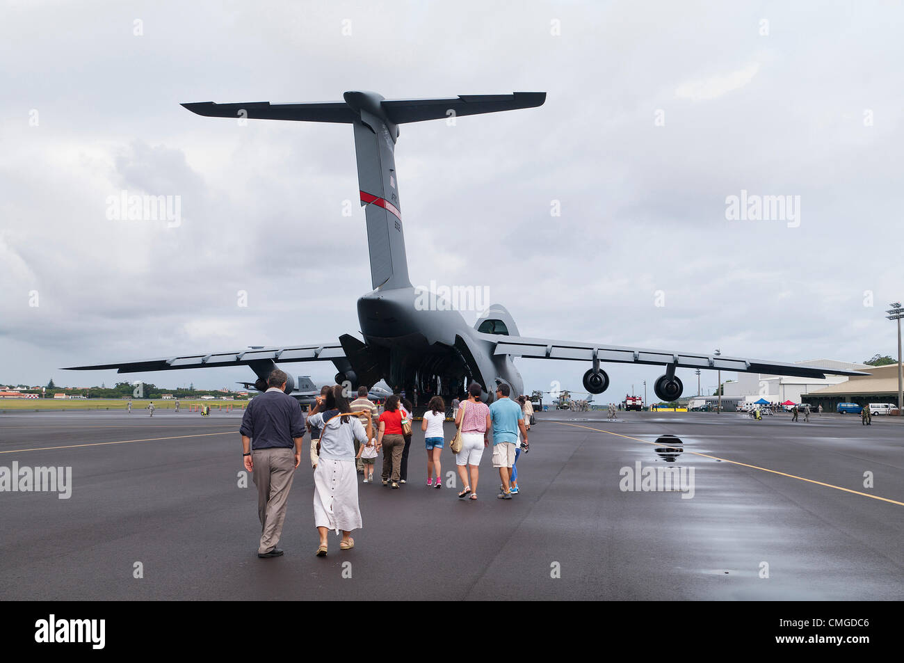 Yesterday members of the 65th Air Base Wing supported an Open House event hosted by the Portuguese Air Force partners - Stock Image