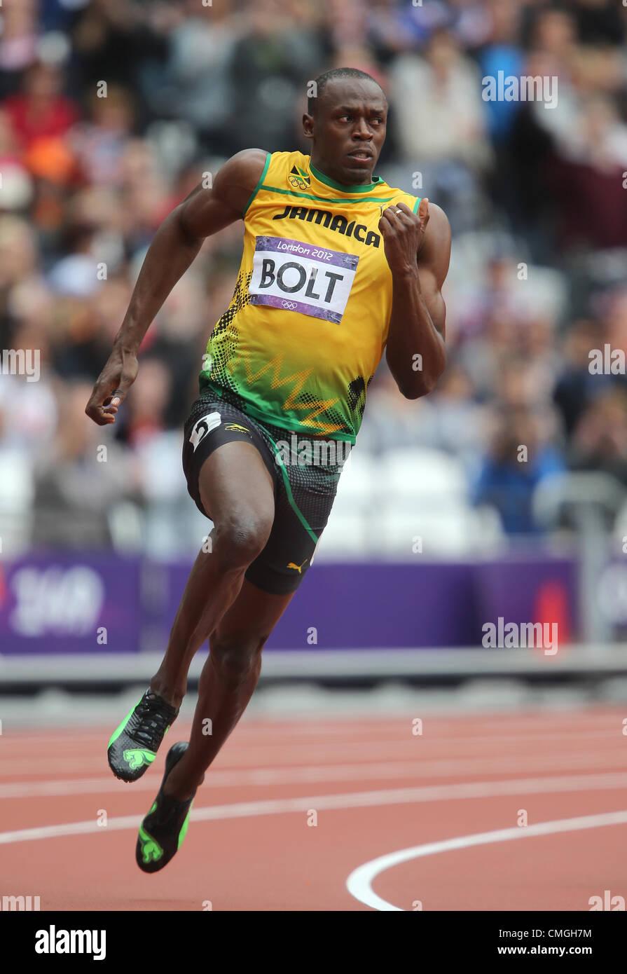 7th Aug 2012. USAIN BOLT JAMAICA LONDON 2012 OLYMPIC GAMES ...