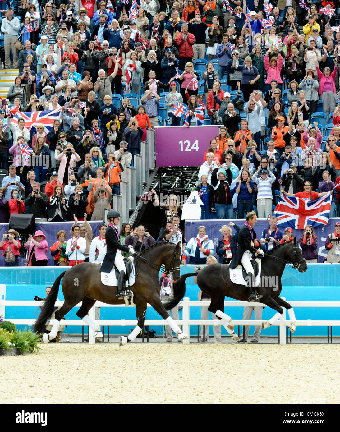 London, UK. 7th August, 2012. Greenwich Park. Olympic Equestrian Team Dressage. Gold medal winners Great Britain Stock Photo