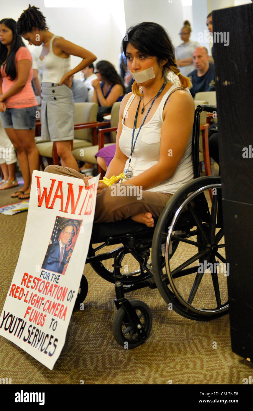 AUGUST 6, 2012 - Mineola, New York, U.S. - At Nassau County Legislature Meeting, AMORY SEPULVEDA of Port Washington - Stock Image