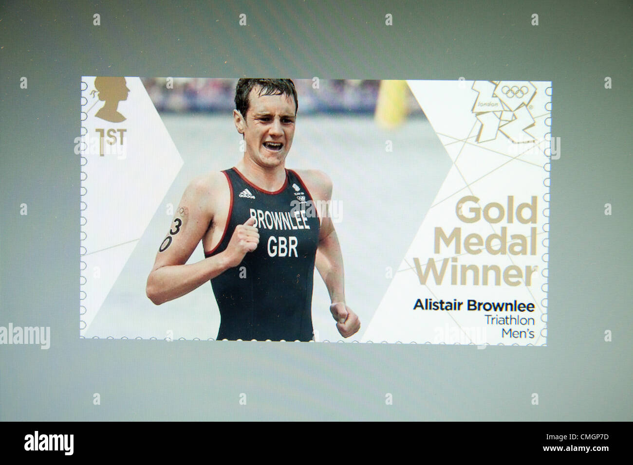8th August 2012, London 2012. Special edition commemorative stamp of  Alistair Brownlee who claims the Gold medal - Stock Image