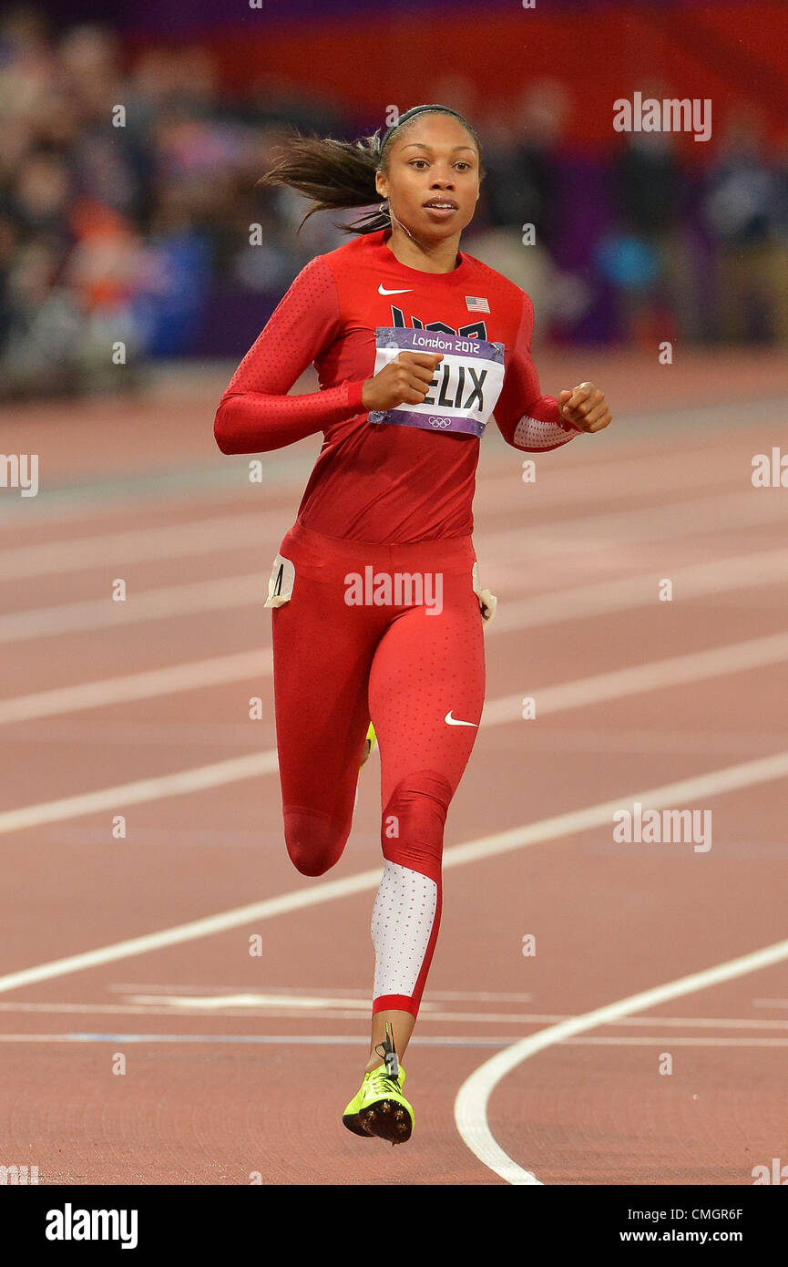 LONDON, ENGLAND - AUGUST 7, Allyson Felix of the USA in the women's 200m semi final during the evening session - Stock Image