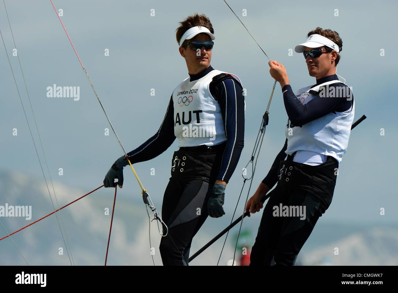 8th Aug 2012. Olympic Sailing, action during the London 2012 Olympic Games at the Weymouth & Portland Venue, - Stock Image