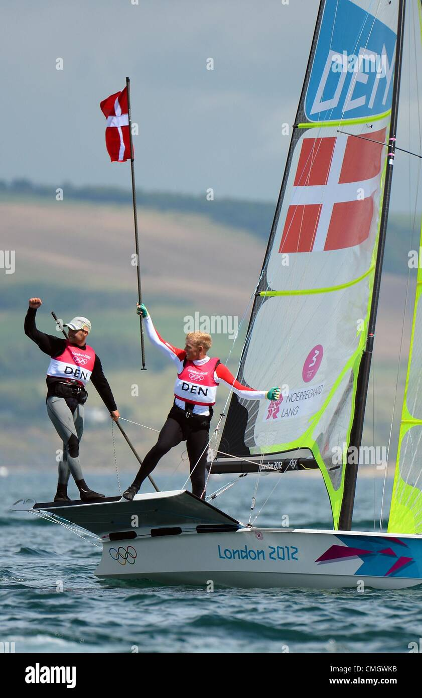 Olympic Sailing, action during the London 2012 Olympic Games at the Weymouth & Portland Venue, Dorset, Britain, - Stock Image