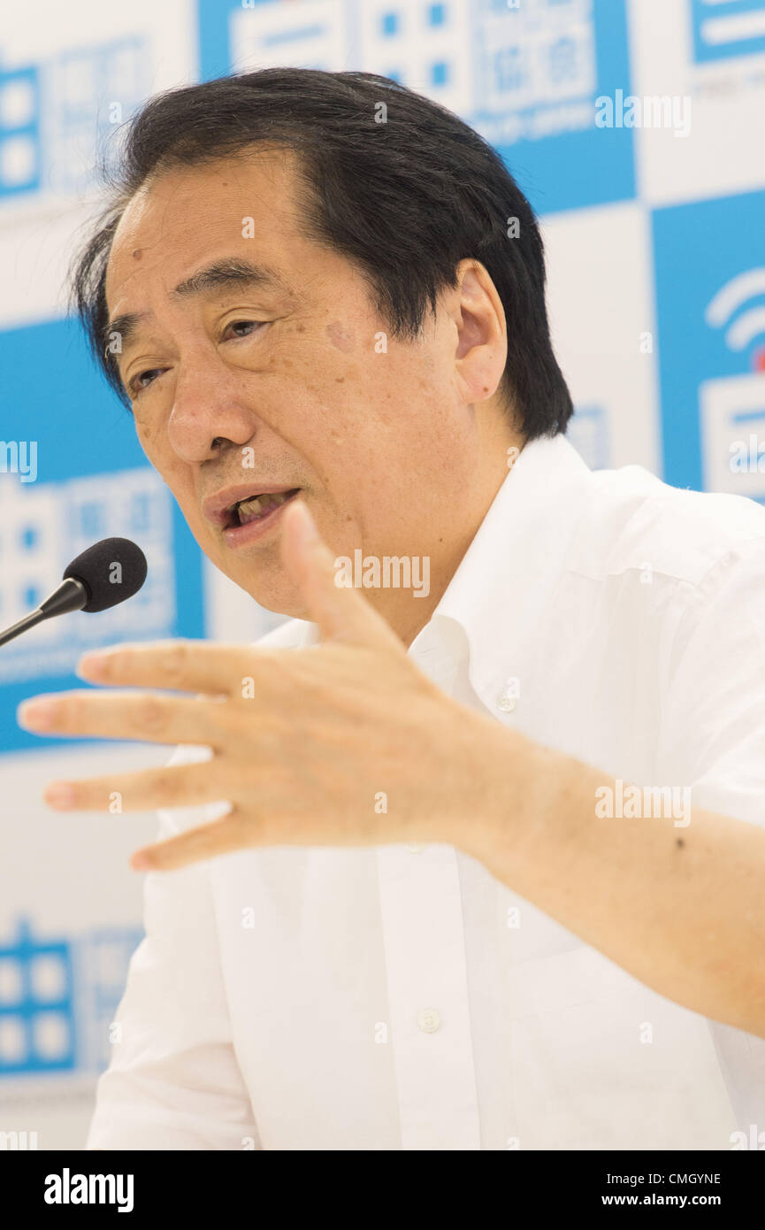 July 31, 2012, Tokyo, Japan - Former prime minister Naoto Kan speaks during a media conference at Free Press Association Stock Photo
