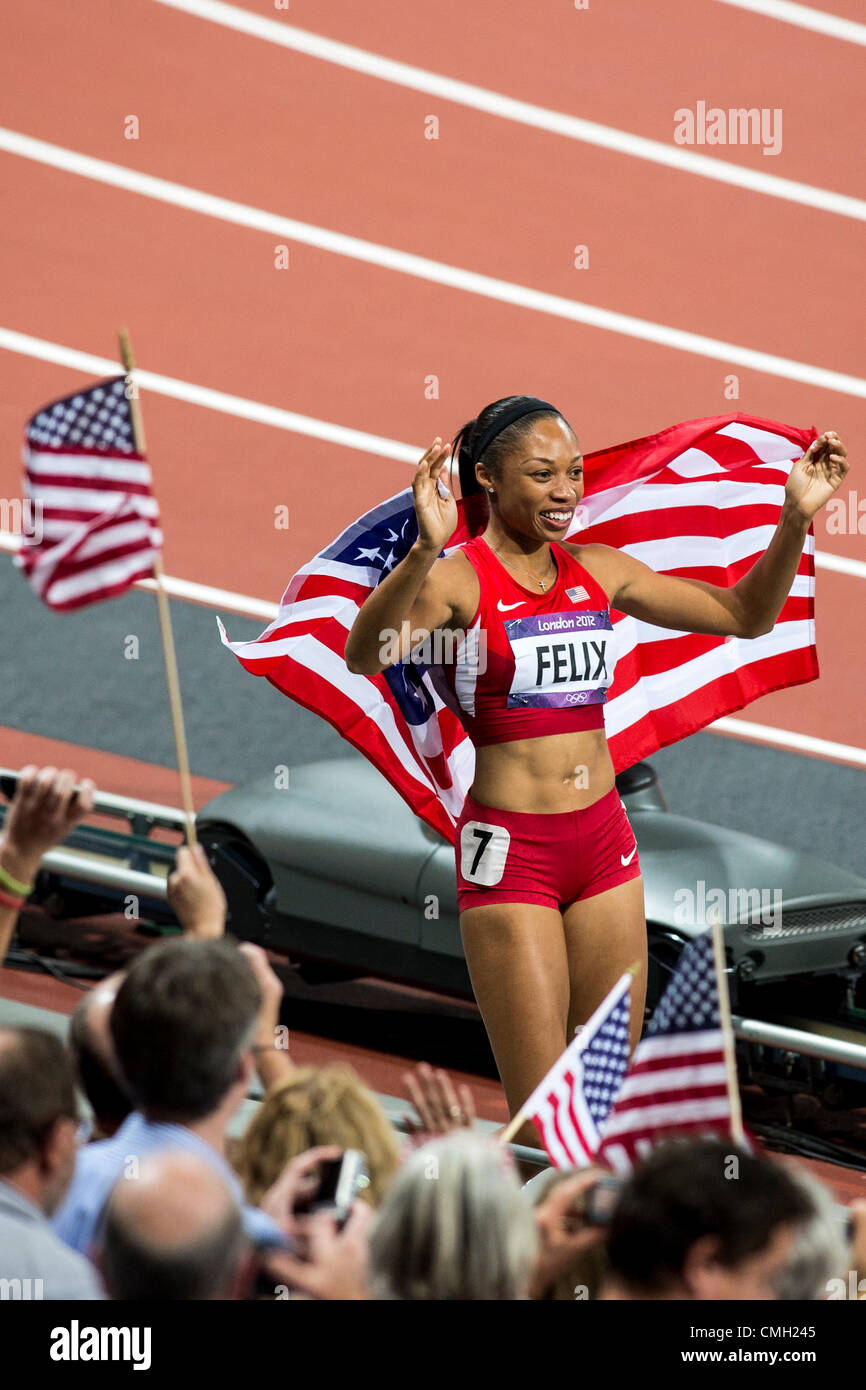 8th Aug 2012. Allyson Felix (USA) after winning Women's 200m Final at the Olympic Summer Games, London 2012 - Stock Image