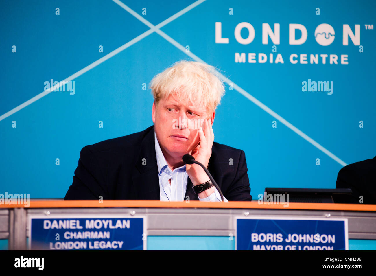 London, UK – 9 August 2012: Mayor Boris Johnson during the Press Conference 'Delivering a lasting legacy from the Stock Photo
