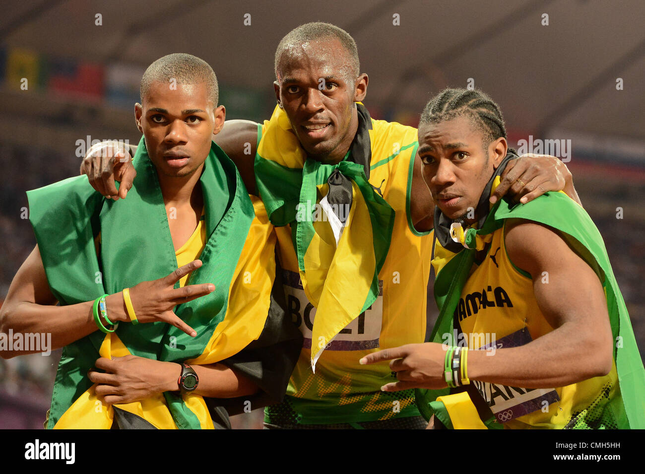 LONDON, ENGLAND - AUGUST 9, Warren Weir, Usain Bolt and Yohan Blake of Jamaica, medallists in the mens 200m during - Stock Image