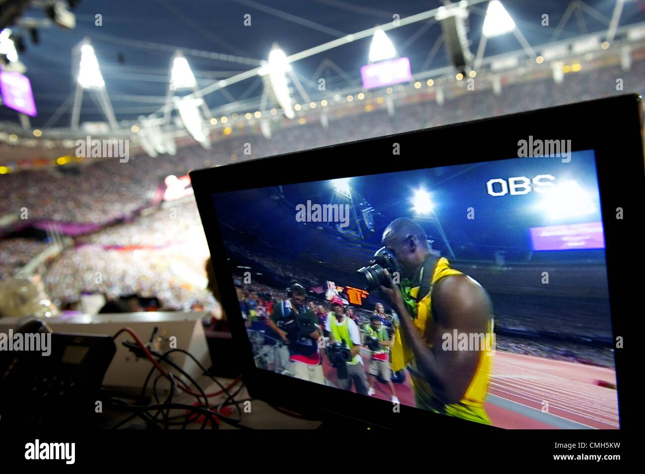 Aug. 9, 2012 - London, England, United Kingdom - As seen on a television monitor within Olympic Stadium, Jamaican - Stock Image