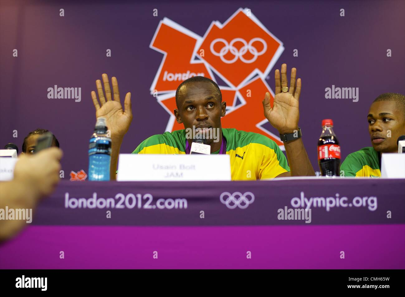 Aug. 9, 2012 - London, England, United Kingdom - Gold medal winner Jamaican sprinter USAIN BOLT claims 'I am - Stock Image
