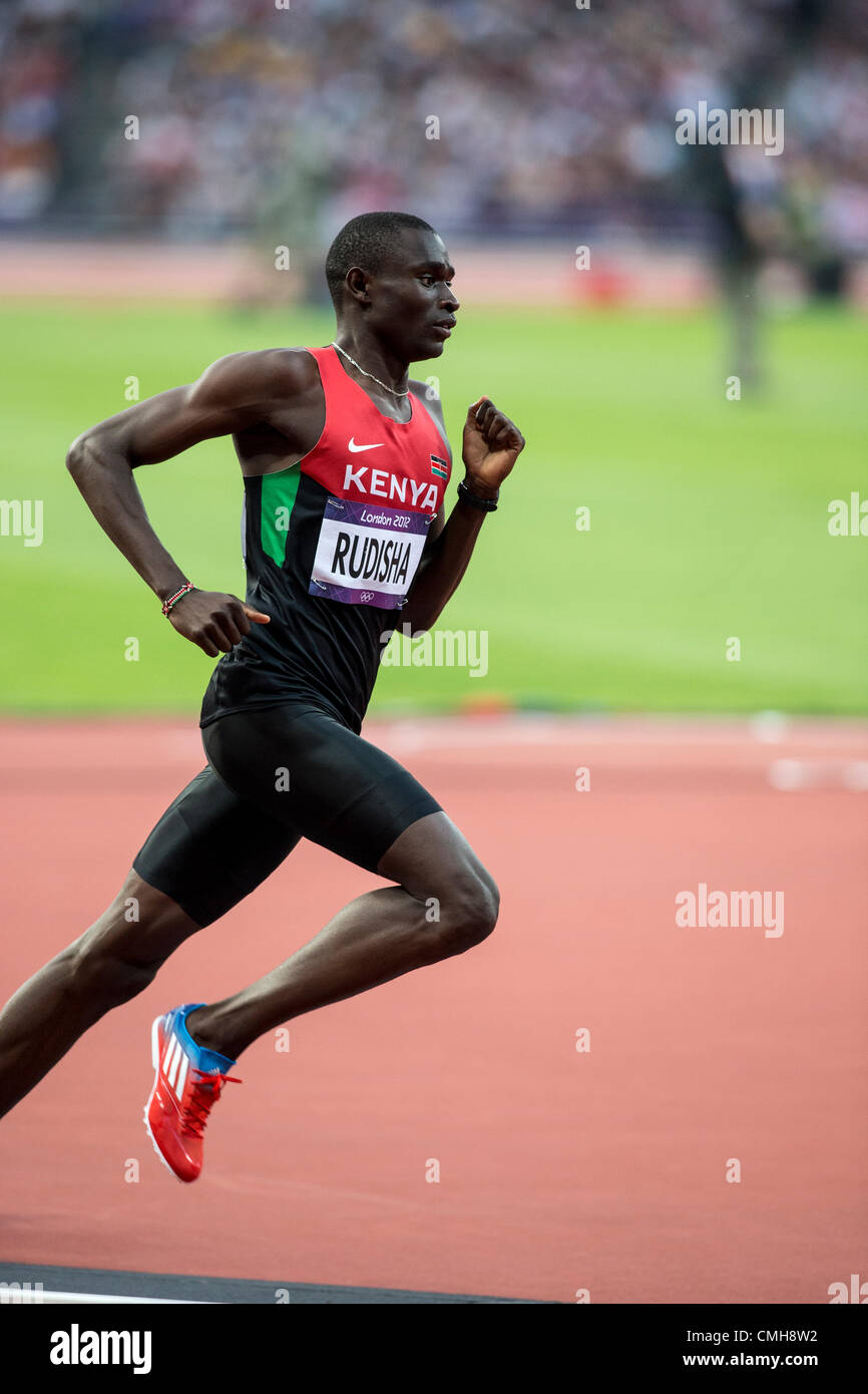9th Aug 2012. David Rudisha (KEN) winning the gold medal in world record time in the Men's 800m at the Olympic - Stock Image