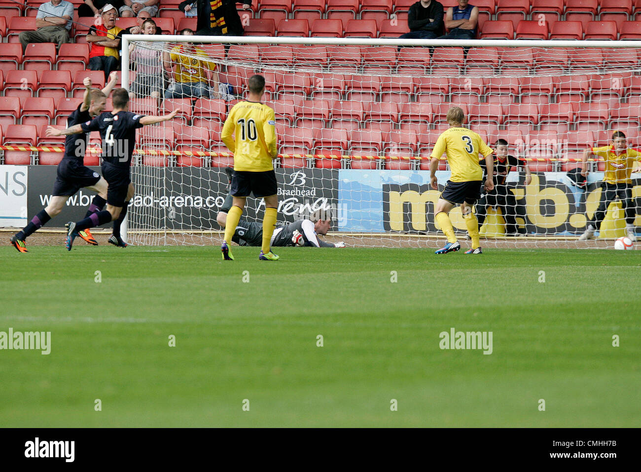 11th Aug 2012. 11.08.2012 Glasgow, Scotland.  Partick score their first goal during the Scottish Football League - Stock Image
