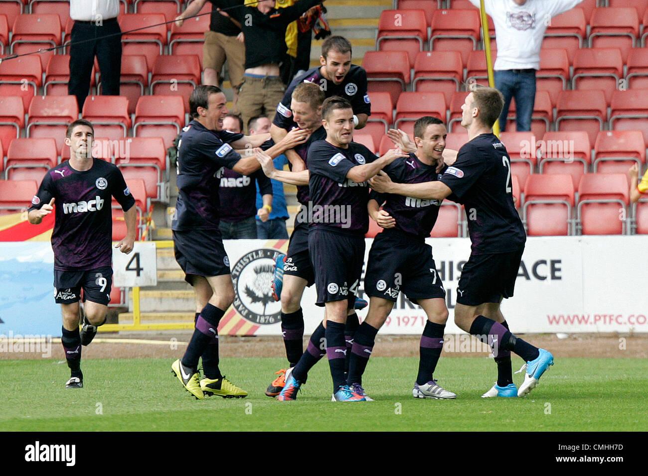 11th Aug 2012. 11.08.2012 Glasgow, Scotland.  Partick celebrate scoring their first goal during the Scottish Football - Stock Image