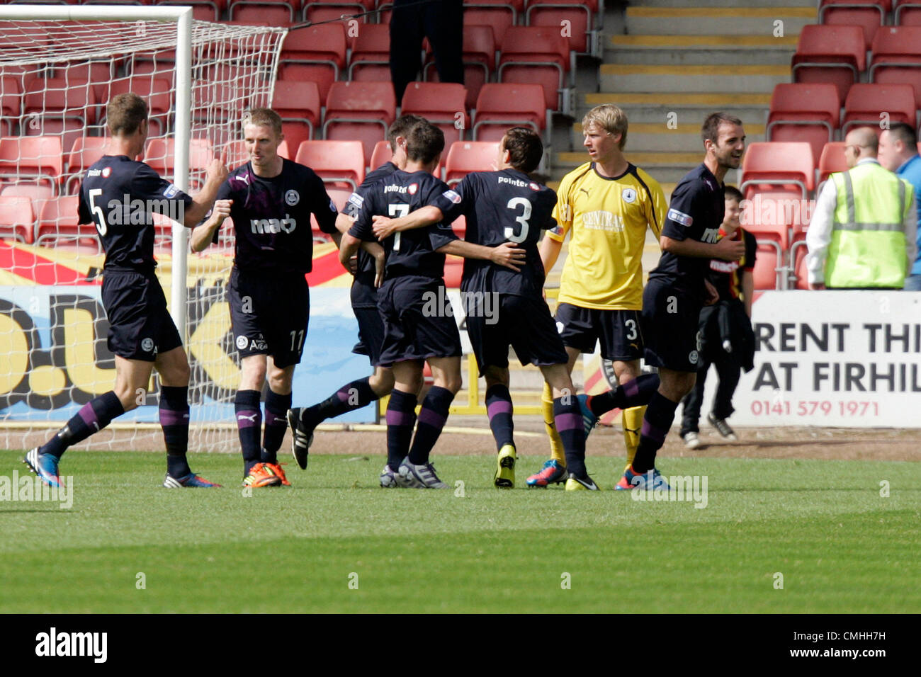 11th Aug 2012. 11.08.2012 Glasgow, Scotland.  Partick celebrate scoring their second goal during the Scottish Football - Stock Image
