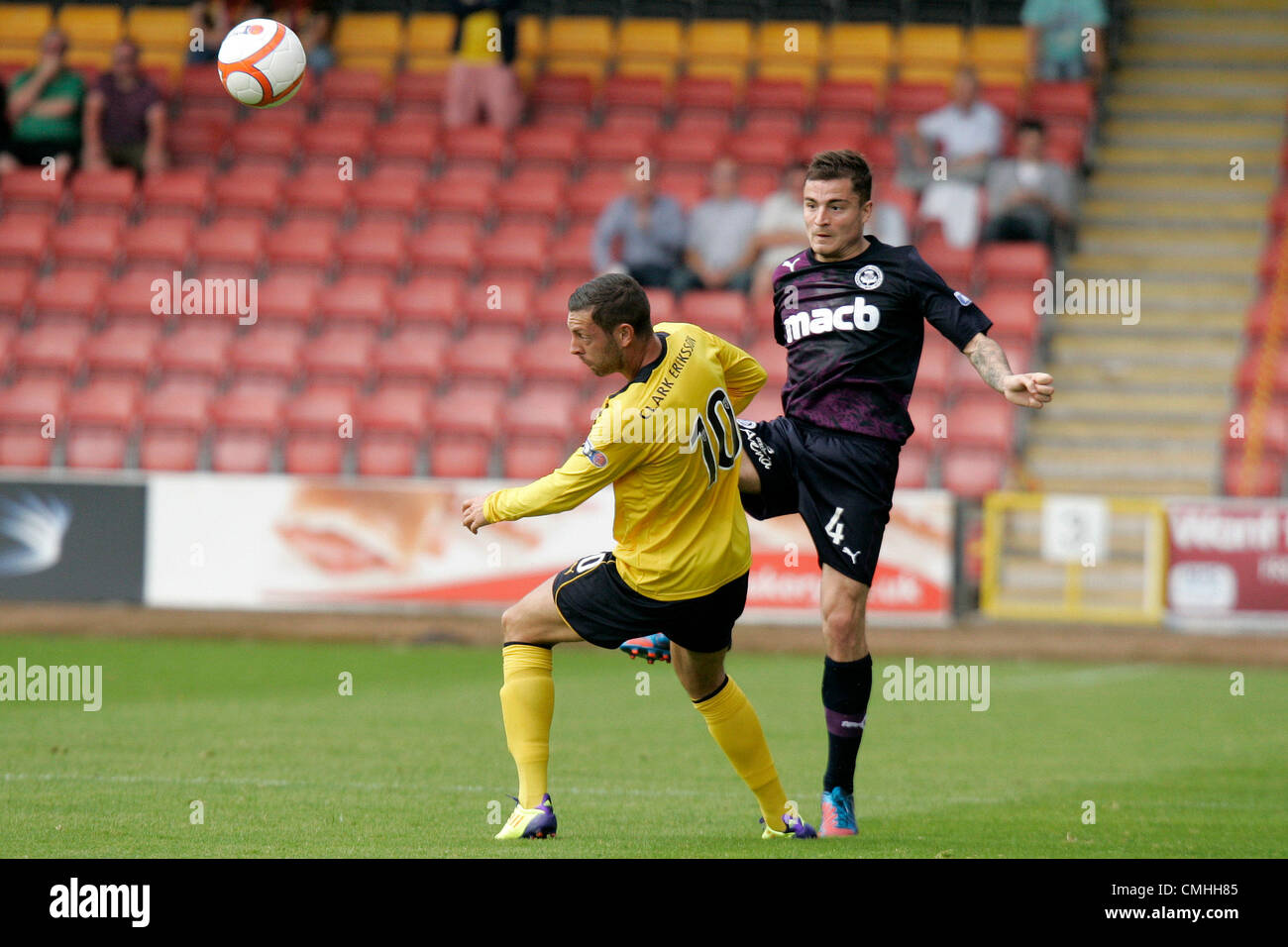 11th Aug 2012. 11.08.2012 Glasgow, Scotland. 4 Paul Paton and 10 Andy Hawarth in action during the Scottish Football - Stock Image