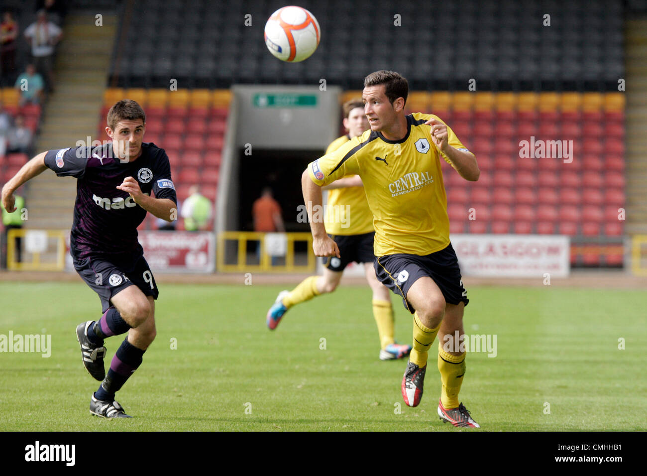 11th Aug 2012. 11.08.2012 Glasgow, Scotland. 9 Kris Doolan and 3 Stephen Kingsley in action during the Scottish - Stock Image