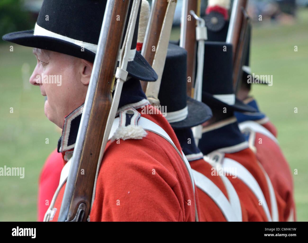 8-11-2012, Riverdale, Maryland USA...-Battle of Bladensburg Reenactment .. British Marine march toward Washington - Stock Image