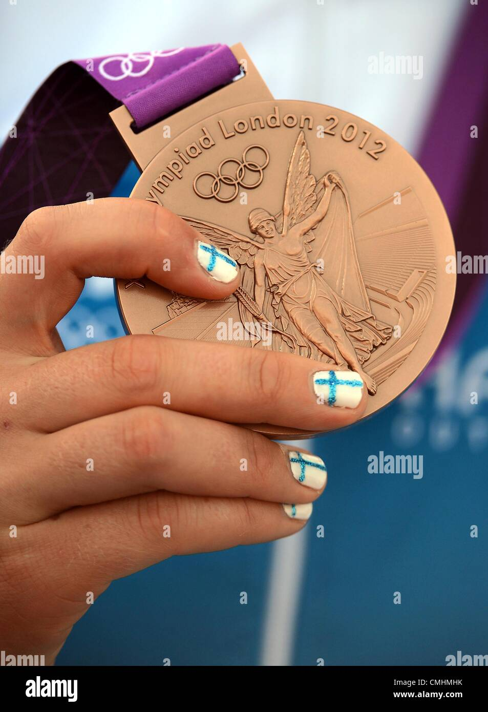 Bronze medal of Finland in the women's Elliott 6m sailing class, London 2012 Olympics, Sailing at the Weymouth - Stock Image