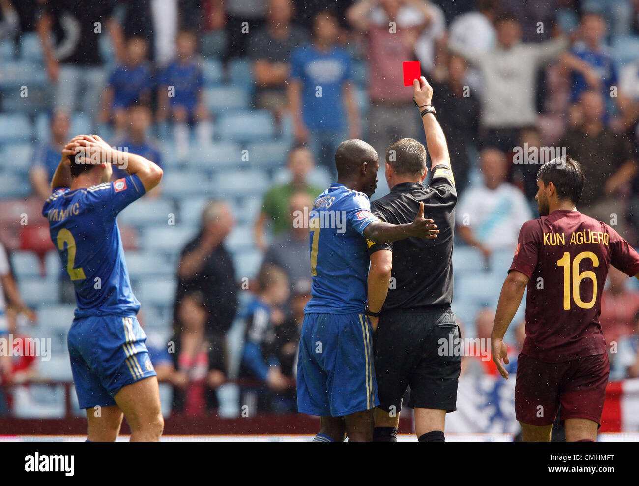BRANISLAV IVANOVIC IS SENT OFF CHELSEA V MANCHESTER CITY VILLA PARK BIRMINGHAM ENGLAND 12 August 2012 - Stock Image