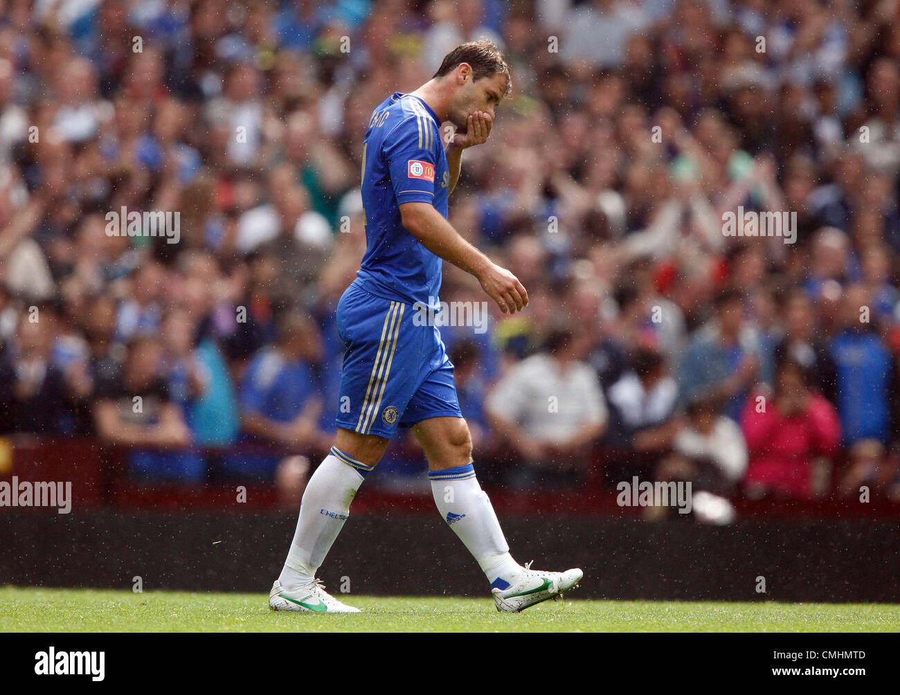 BRANSLAV IVANOVIC IS SENT OFF CHELSEA V MANCHESTER CITY VILLA PARK BIRMINGHAM ENGLAND 12 August 2012 - Stock Image