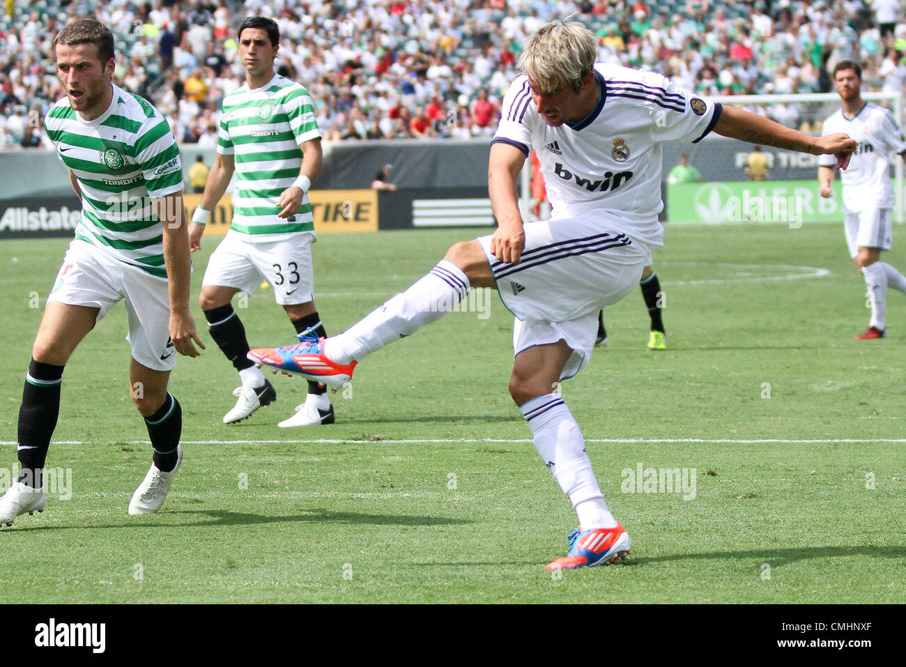 11.08.2012. Philadelphia, USA.  Real Madrid midfielder Fabio Coentrao (15) fires a shot at net in the World Football Stock Photo