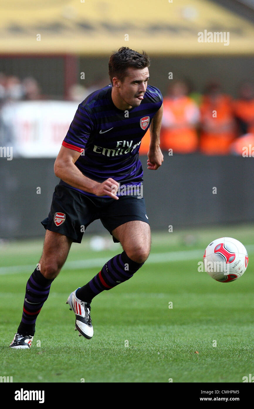 12.08.2012. Cologne, Germany.  Arsenal's  Carl Jenkinson plays the ball during the preseaon friendly match between - Stock Image