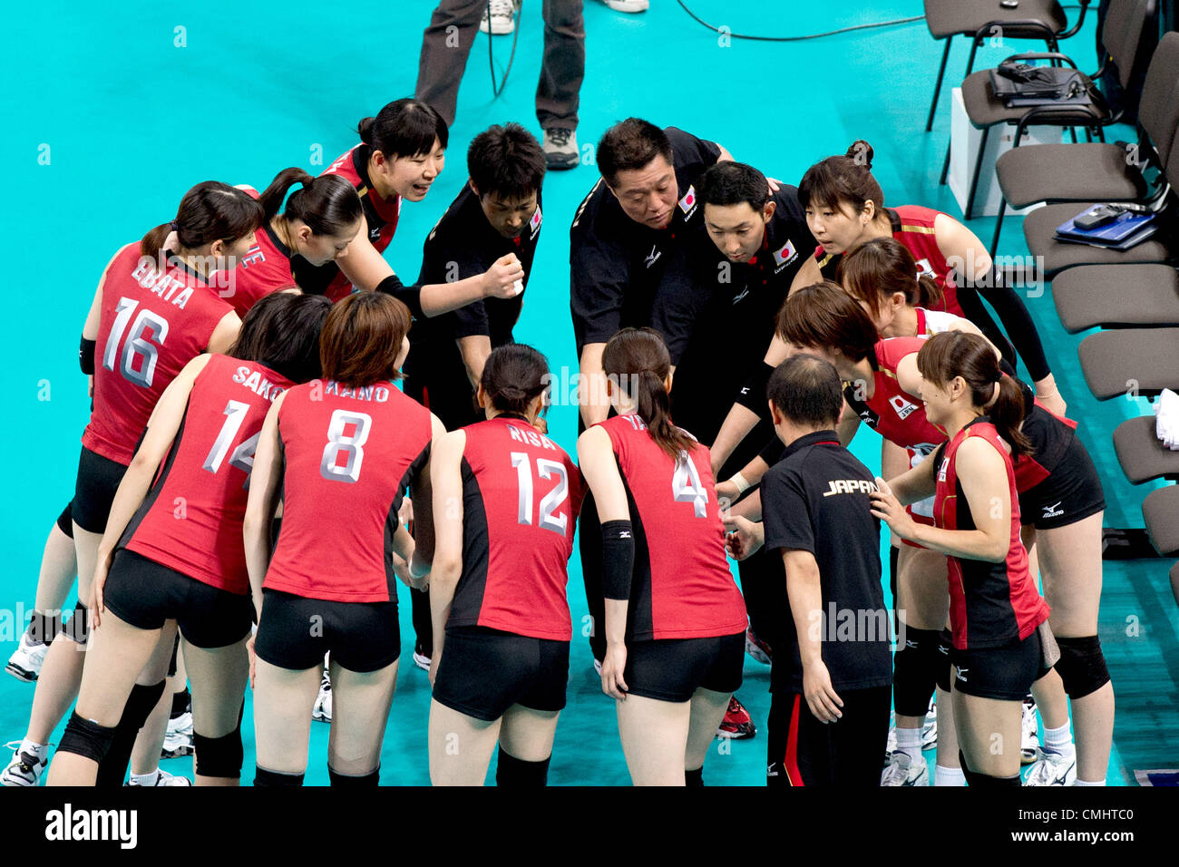 Japan team group (JPN),  AUGUST 11, 2012 - Volleyball :  Japan team celebrates after winning the   Women's Bronze Stock Photo