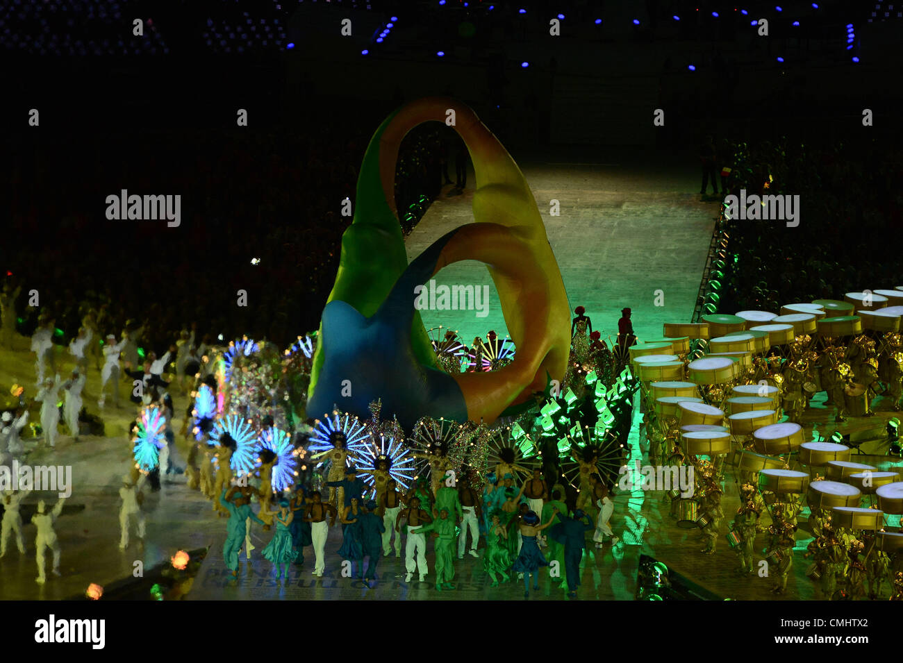 LONDON, ENGLAND - AUGUST 12, the logo of the next Olympic Games,  during the closing ceremony of the London 2012 - Stock Image