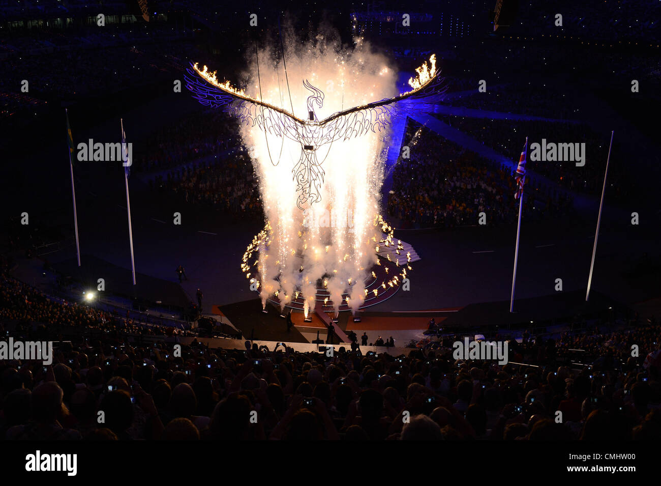 LONDON, ENGLAND - AUGUST 12, the Olympic flame is about to be extinguished during the closing ceremony of the London - Stock Image