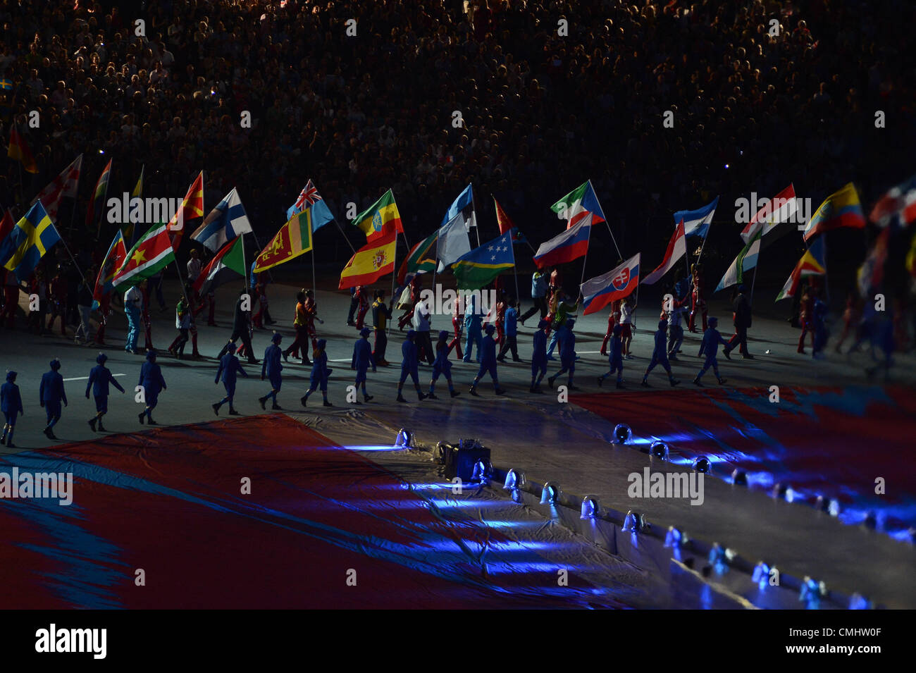 LONDON, ENGLAND - AUGUST 12, athletes and flag bearers enter the arena during the closing ceremony of the London - Stock Image