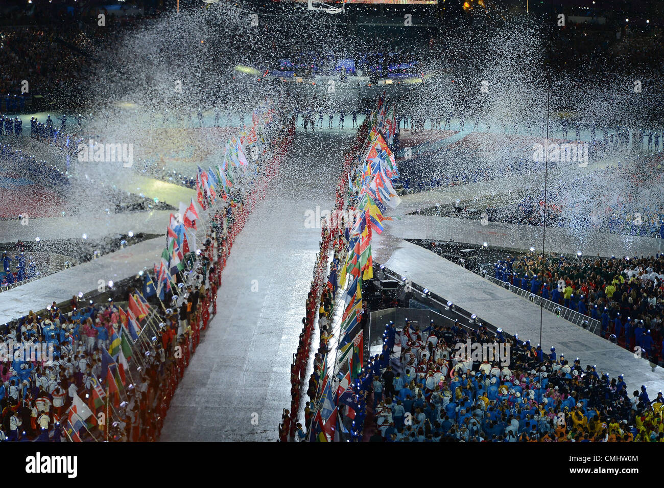 LONDON, ENGLAND - AUGUST 12, tinsel rains down on the athletes during the closing ceremony of the London 2012 Olympic - Stock Image