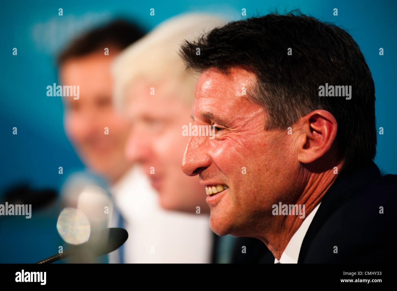 London, UK – 13 August 2012: LOCOG Chair, Sebastian Coe, during the final press conference of the Olympic Games - Stock Image