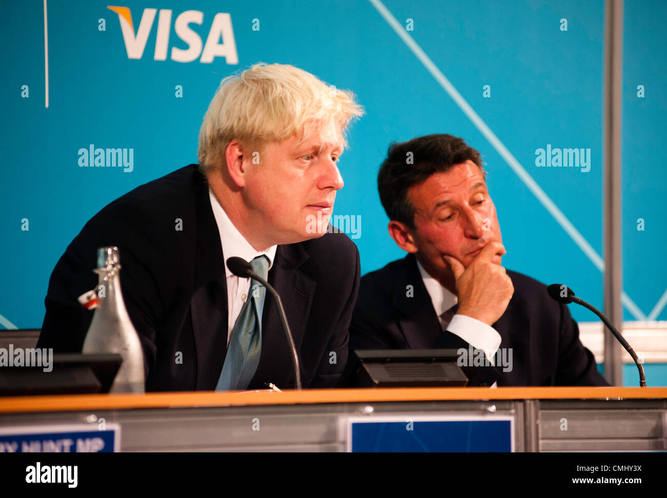 London, UK – 13 August 2012: Boris Johnson and Sebastian Coe during the final press conference of the Olympic Games - Stock Image
