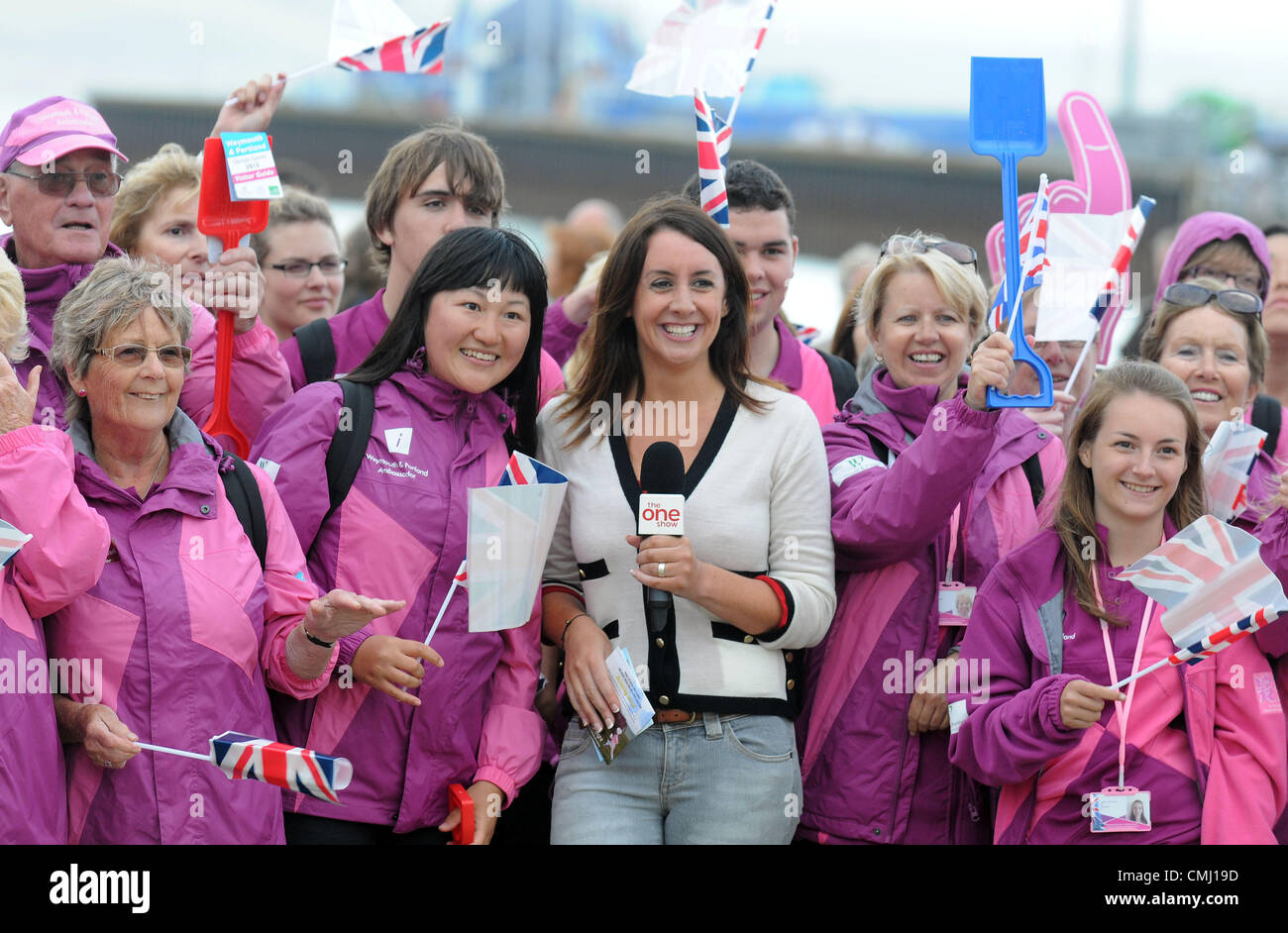 The One Show filming in Weymouth, Dorset, UK Presenter Lucy Siegle with Olympic ambassadors 13th August, 2012 PICTURE: - Stock Image